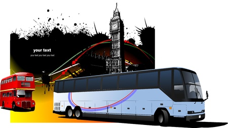 Grunge London images with buses image.  Vector