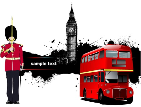 double decker: Grunge banner with London and bus images.  Illustration