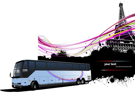 Tourist bus with Paris image background.  Vector