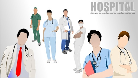intern: Group of Medical doctors and nurse in hospital.  Illustration