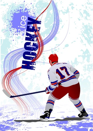 Ice hockey players poster.  Vector