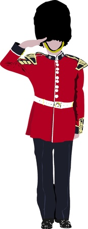 english famous: image of beefeater isolated on white  Illustration