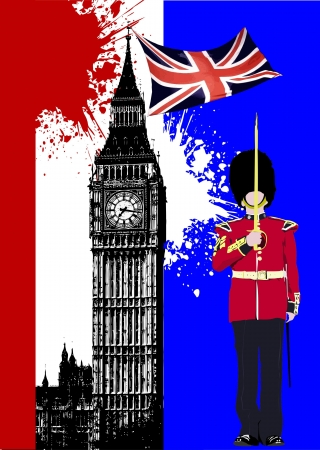 beefeater: Cover for brochure with England image and Britain flag Illustration