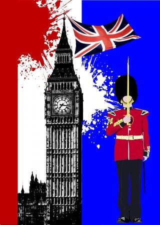 bandera de gran breta�a: Cubierta para folleto con imagen de Inglaterra y la bandera de Gran Breta�a