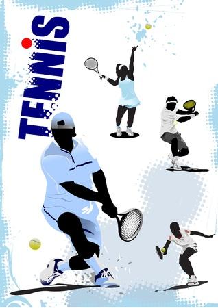 tennis racquet: Cartel del jugador de tenis.