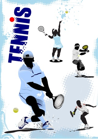 Tennis player poster.  Vector