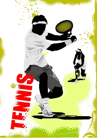 tennis serve: Tennis player poster.