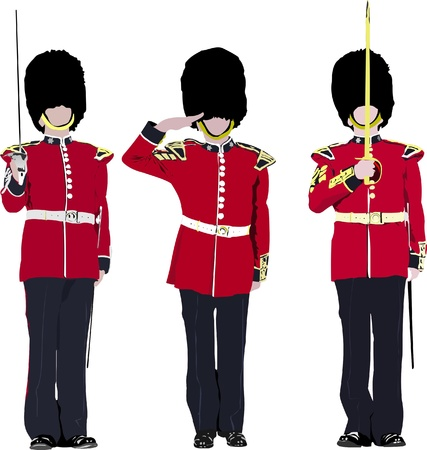 british army: image of three beefeater. England guards.