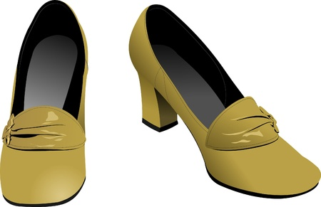 flat shoes: Old fashion woman shoes Illustration