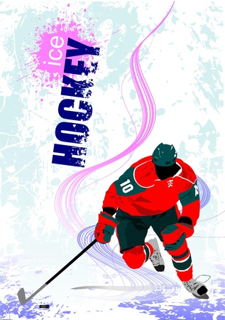 Ice hockey players poster Vector