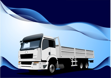 Blue wave background with lorry image Vector
