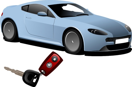 ignition: Blue car sedan on the road and key ignition