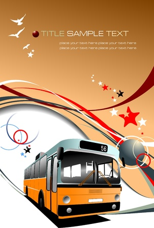 coach: Cover for brochure with Old fashioned city bus. Tourist coach