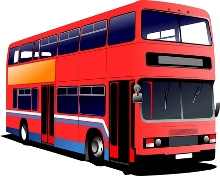rarity: London double Decker red bus Illustration