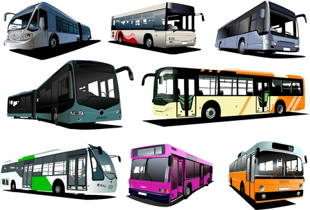 motor coach: Eight city buses. Coach. Illustration