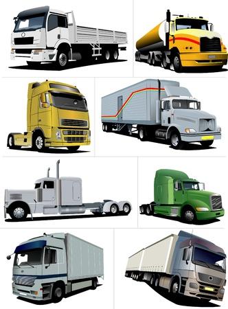 truck on highway: eight  trucks