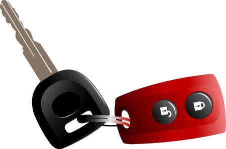 Car keys with remote control isolated over white background Stock Vector - 8749415