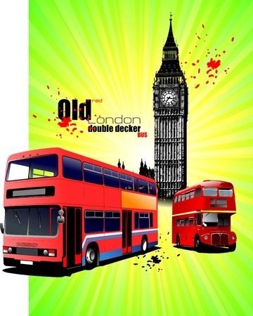 Poster  with old London red double Decker bus Vector
