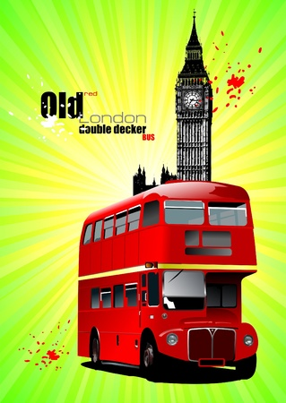 Poster  with old London red double Decker bus. Stock Vector - 8749595