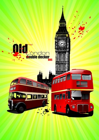 Poster  with two old London red double Decker buses Vector