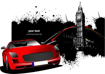silueta coche: Im�genes de Londres de grunge con la imagen de coche rojo