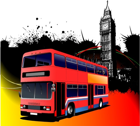 Grunge London images with bus image Vector