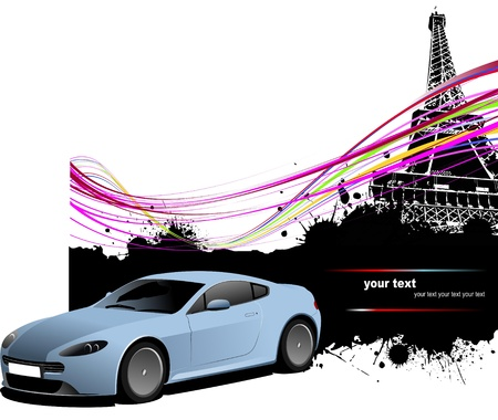 Blue sedan car with Paris image background. Vector