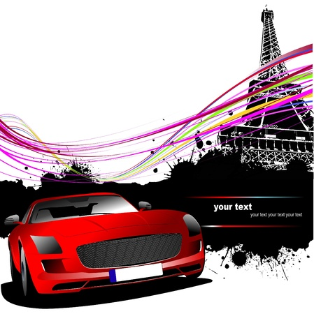 Red car with Paris Vector