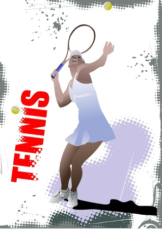 tennis racquet: Cartel del jugador de tenis Vectores