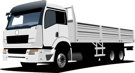 truck on highway: white truck Illustration