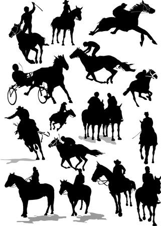 galop: Seize silhouettes de courses de chevaux
