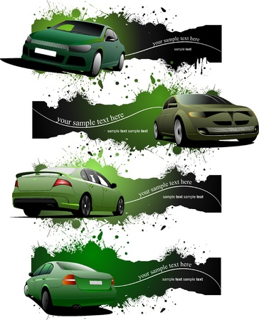 Four green grunge Banners with cars Stock Vector - 8749664