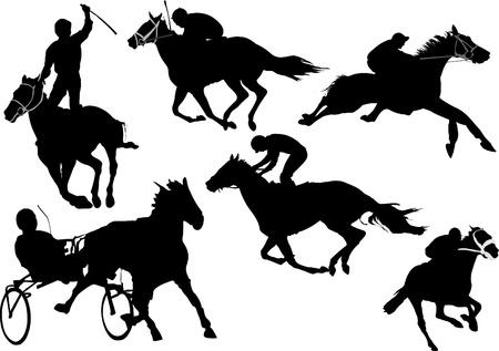 galop: Silhouettes de courses de chevaux Illustration