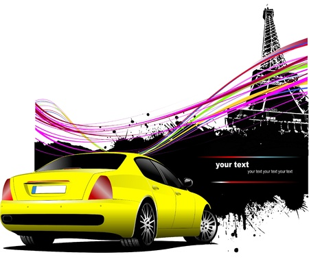 Yellow  car sedan with Paris image background Vector