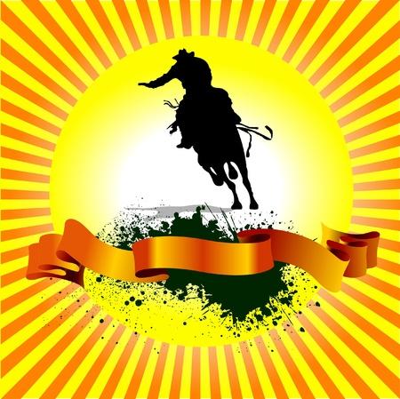 Grunge background alba con silhouette di corse di cavalli