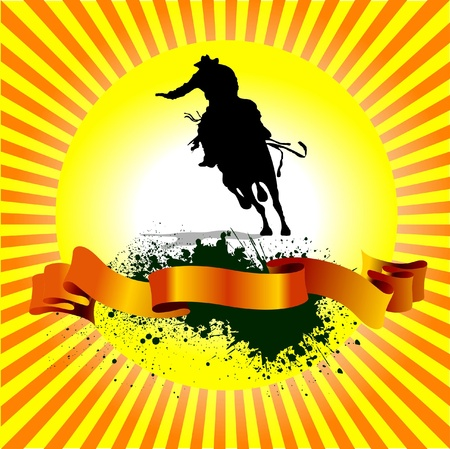 horse jumping: Grunge sunrise background with horse racing silhouette Illustration