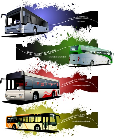 approaching: Four  grunge Banners with city buses