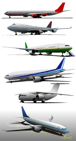 airfield: Six Airplanes on the airfield