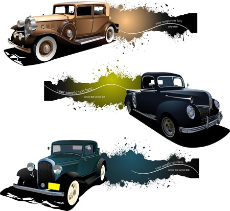 Three banners with old car Stock Vector - 8749669