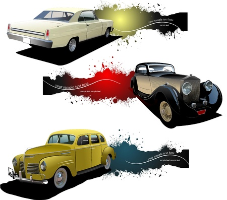 custom car: Three banners with old car Illustration