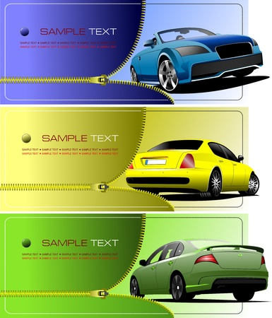 Three banners with Zipper open car Stock Vector - 8749658
