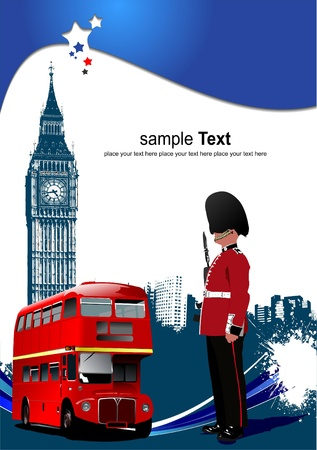 Cover for brochure with London images Stock Vector - 8749644