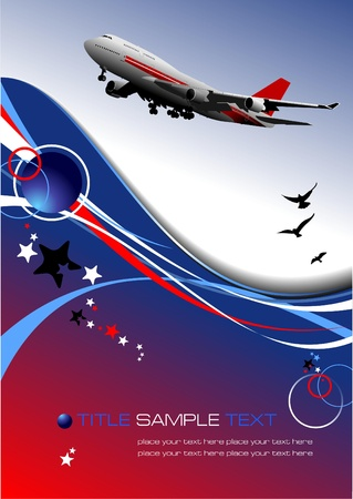 airplane landing: Aircraft poster with passenger airplane