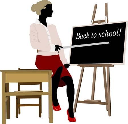 discussing: Woman teacher in classroom. Back to school Illustration