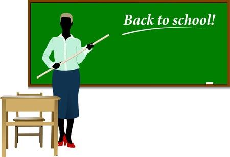 Woman teacher in classroom Stock Vector - 8749422