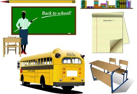 Back to school. School equipment. Vector