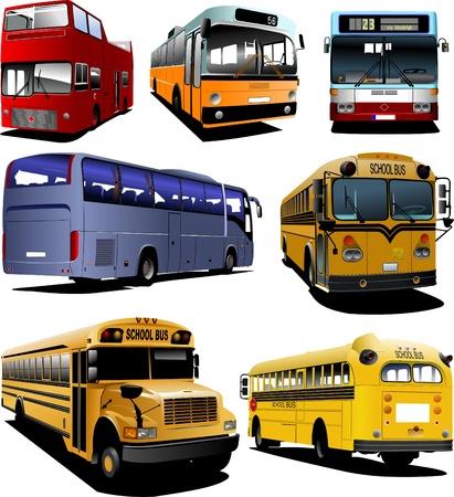 servicios publicos: Siete autobuses de la ciudad. Entrenador. Autob�s escolar. Vectores