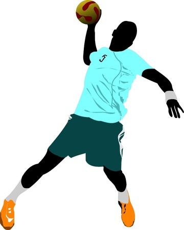 pallamano: Silhouette di giocatori di pallamano Vettoriali