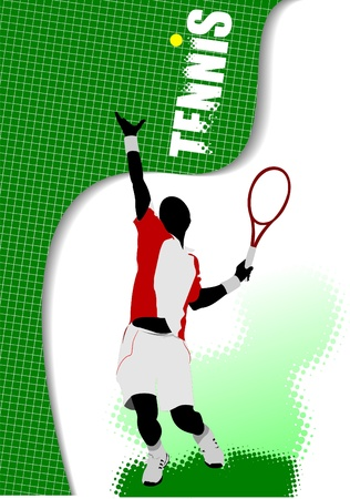 Poster tennis player Illustration