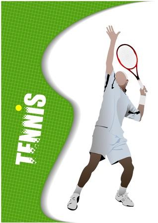 tennis racquet: Tenista de p�ster Vectores